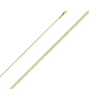 14K Yellow 2.0mm Flat Mariner Pave Chain - 16""